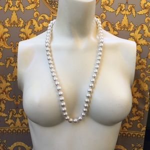 "Pearl necklace 26"" long 11mm pearls white tone"